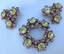 VINTAGE WEISS YELLOW AND PURPLE RHINESTONE BROOCH AND EARRINGS