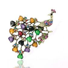 Vintage Peacock Brooch Bronze Plated Antique style Resin Crystal multi-color