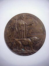 WWI British UK MEMORIAL DEATH PLAQUE Table Medal THOMAS LOCKWOOD