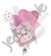 7 pc Welcome Little Lady Pink Bow Baby Shower Balloon Bouquet Party Girl Chevron