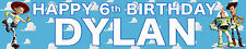 2 x TOY STORY BLUE PERSONALISED BIRTHDAY BANNERS