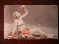1940's Penny Arcade Card Pinup Erotic Blonde w Grapes Risque Nude Vintage Art