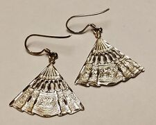 SIGNED LLC DETAILED DECORATIVE CUT OUT DANGLE HAND FAN 925 STERLING EARRINGS S18