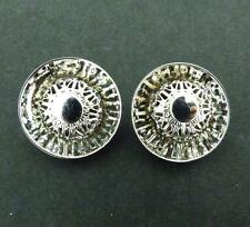 Vintage Silvertone Round Concave Shiny with Filigree Inset Clip Earrings
