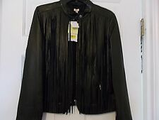 NWT  $348.00  Desert Rose Black Leather Fringe Jacket. Sz M 100% Sheep Leather