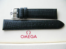Brand New 21mm Black Leather Strap & Vintage 18mm Omega Stainless Steel Buckle
