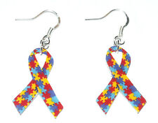 Autism Awareness Puzzle Ribbon HANDMADE Plastic Charm Earrings Children Kids