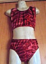 RUBY RED ANIMAL PRINT MICRODOT LYCRA CROP TOP/PANT/4/5 YEAR/FREESYTLE COSTUME