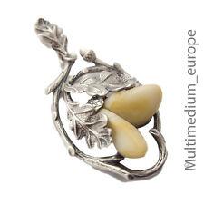 Silber Anhänger Grandel Hirschzahn Eichenlaub antik silver pendant Tracht en