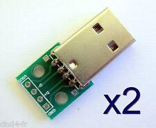 Lot 2x connecteur USB male+Plaque PCB - 2x USB connector+module board PCB plate