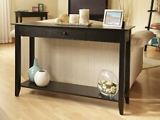 Wood Console Table Accent Shelf Stand Entryway Living Room Furniture Black Sofa