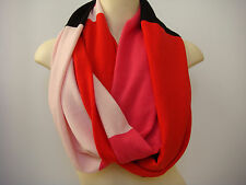 Kate Spade New York Color Block infinity Scarf pink red black pink 100% wool new