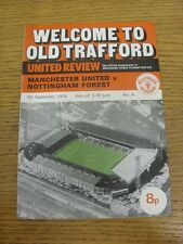 07/09/1974 Manchester United v Nottingham Forest [Division 2 Season] (token remo