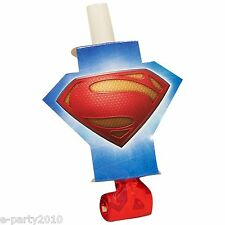 SUPERMAN MAN OF STEEL BLOWOUTS (8) ~ Birthday Party Supplies DC Heroes Favors