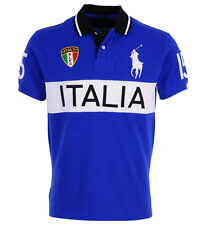 RALPH LAUREN ITALY ITALIA Polo T-Shirt Top Blue Custom Fit  Big Pony Size Medium
