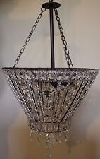New Pottery Barn Belinda Round Beaded pendant chandelier *1 broken crystal
