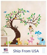 Jungle Animals Tree Monkey Owl Removable Wall Decal Stickers Kids Room Art Decor