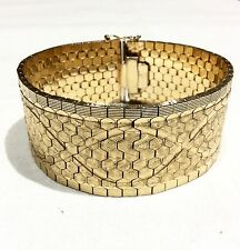 ESTATE 18K SOLID YELLOW GOLD MASSIVE MID CENTURY 27MM WIDE WOVEN BRACELET, ITALY