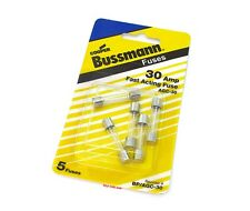 ☀ Bussmann AGC 30 Amp Glass Fuses ☀ 5 Pack ☀ Vintage Motorcycle ☀ BP/AGC-30-RP