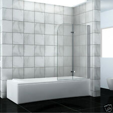New 2 Fold 180° Hinge Bath Shower Screen - Safety Tempered Glass  1000 X 1400mm
