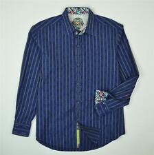 Robert Graham Button Front Striped Long Sleeve Blue Shirt Men's Size L