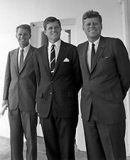 JOHN F KENNEDY WITH BROTHERS BOBBY AND TED  8X10 GLOSSY PHOTO PICTURE