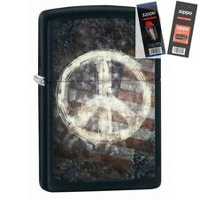 Zippo 28864 peace sign & flag Lighter with *FLINT & WICK GIFT SET*