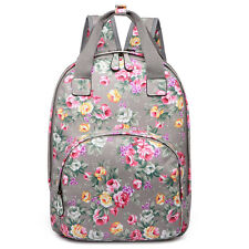 Ladies Fashion Flower Print Oilcloth Tote Bag School Travel Backpack Bag Grey