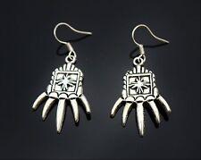 Silver tone strampind hand maltese cross w/ long fingers nail pierced  EARRINGS