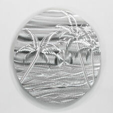 Modern Abstract Silver Metal Wall Art Sculpture Silver Beach By Jon Allen