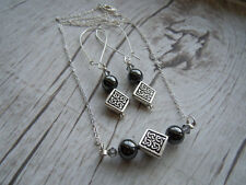 Celtic Necklace Earrings Set, Hematite, Swarovski Crystal, Scottish Jewelry