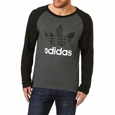 LARGE adidas Originals Classic Men's Trefoil LONG SLEEVE TEE Cotton  GRAY BLACK