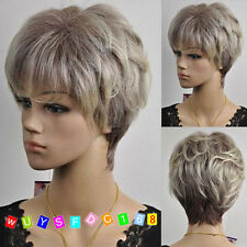 Fiber wig Popular wave short blonde mixed gray curly wigs NO:236