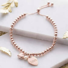 Rose gold plated ball slider bridesmaid personalised bracelet