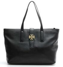 Tory Burch Black Grained Leather Gold Medallion Large Tote