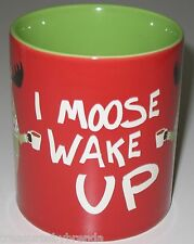 I Moose Wake Up RED Coffee Mug  Red & Green Hatley Anthropomorphic