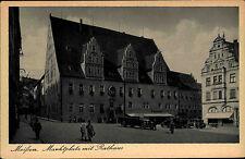 Meissen an der Elbe Postkarte ~1930 Partie am Marktplatz mit Rathaus alte Autos