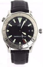 LIMITED EDITION OMEGA SEAMASTER  2533.50  AMERICAS CUP WHITE GOLD LEATHER WATCH