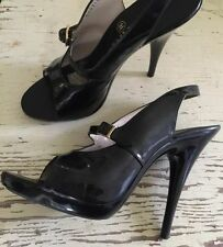Super Sexy CHANEL Black Patent Leather Stiletto Peep Toe Slingback- 36