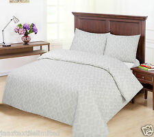 Double_4 Pieces_Silver/Grey Printed Pattern_Ground(Pale Cream/Off White) Duvets.