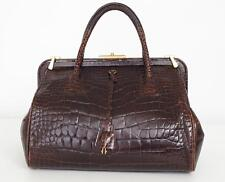 PRADA Dark Brown Glazed Alligator Top-Handle Satchel Doctor Frame Bag Handbag