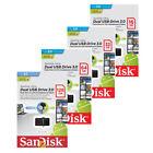 SanDisk 16GB 32GB 64GB 128GB OTG DUAL USB 3.0 Flash Pen Drive Chiavetta Stick IT
