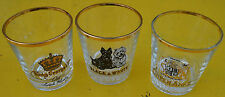 Lot de 3 verres à whisky vintage Queen Anne, Black & White, King George IV,