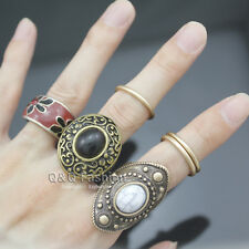 6x Gold Tribal Obsidian Aztec Swirl Boho Gypsy Warrior Band Ring Belly Dance W1