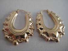 9ct yellow gold OVAL fancy Victorian creole hoop earrings