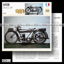 #054.02 SOYER 250 2 ½ HP 1921 Fiche Moto Classic Motorcycle Card