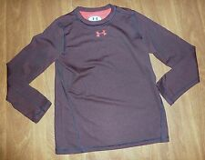 UNDER ARMOUR *ALL SEASON GEAR* LS TEE - YOUTH L - BROWN/RED LOGO