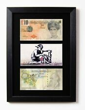 2 FRAMED & MOUNTED BANKSY DIFACED £10 NOTE TENNERS & BUNTING BOY PRINT DI FACED