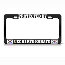 PROTECTED BY UECHI RYU KARATE KOREA FLAG BLACK License Plate Frame Auto Tag