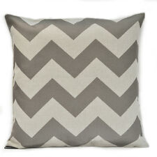 Drak Grey Chevron Zig Zag Vintage Linen Cotton Cushion Cover Pillow Case 65x65cm